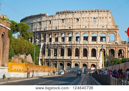 ROME-AUGUST 8: The Colosseum on August 82013 in Rome Italy. The Colosseum is an elliptical amphitheatre in the centre of the city of Rome Italy.