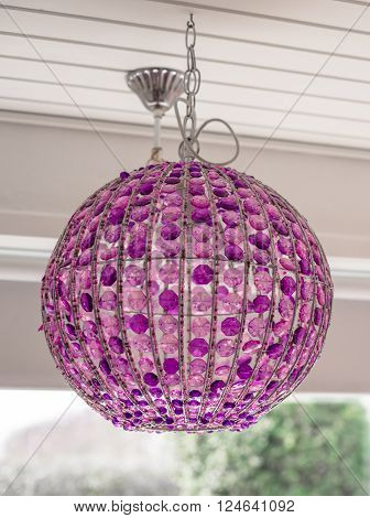 Homemade Lamp With Purple Glass