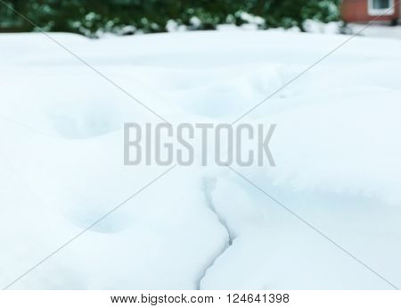 Beautiful natural snowdrift, close up