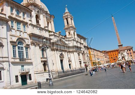 ROME-AUGUST 5: Piazza Navona on August 5 2013 in Rome. Piazza Navona is a city square in Rome Italy.
