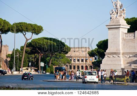 ROME-AUGUST 6: The Via dei Fori Imperiali on August 62013 in Rome Italy. The Via dei Fori Imperiali is a road in the centre of the city of Rome that from the Piazza Venezia to the Colosseum.