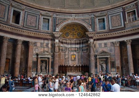 ROME-AUGUST 6: The interior of the Pantheon on August 6 2013 in Rome Italy. The Pantheon is a building in Rome Italy to all the gods of ancient Rome rebuilt by the emperor Hadrian about 126 AD.