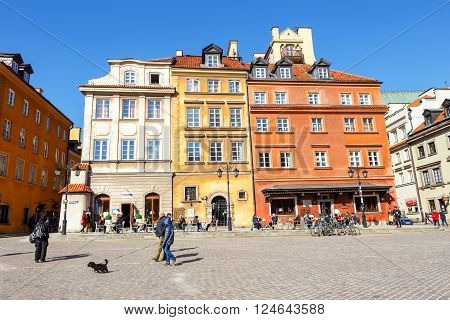 WARSAW POLAND 13 march 2016: Old town square in Warsaw in a sunny day. Warsaw is the capital of Poland