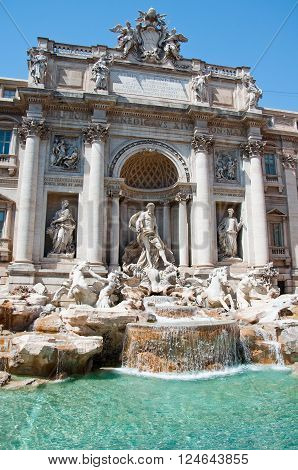 Detail of the Trevi Fountain. Rome Italy.