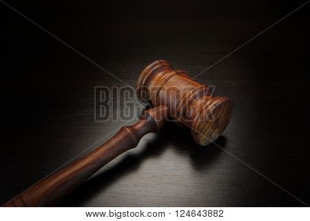 Human Figurine Holding Medical Injection Syringe With Liquid.judges Or Auctioneer Gavel On Isolated