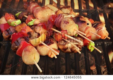 Vegetarian Bbq. Vegetable Shish Kebabs On Hot Flaming Grill, Closeup