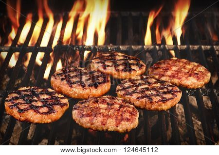 Bbq Grilled Burgers Patties On The Hot Flaming Grill