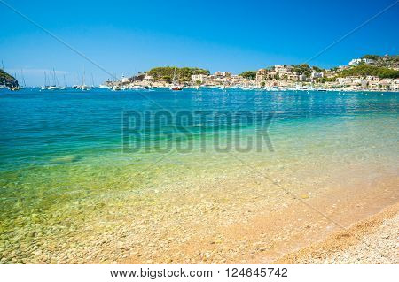 Puerto de Soller, Port of Mallorca island in balearic islands, Spain. Beautiful picture of boats in clear blue water of bright summer day.