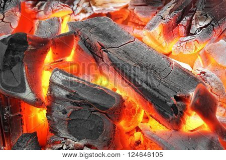 Glowing Hot Charcoal Briquettes Background Texture,  Close-up