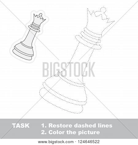 White chess queen in vector to be traced. Restore dashed line and color the picture. Trace game for children.