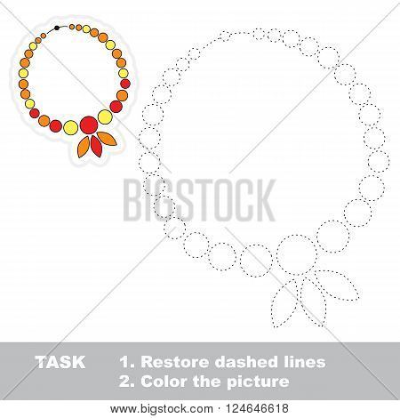 Necklace in vector to be traced. Restore dashed line and color the picture. Trace game for children.