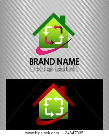 House and arrow icon logo vector design template