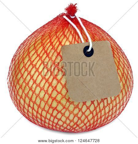 Pomelo Fruit Or Citrus Maxima Or Citrus Grandis In Netting Pack Isolated On White Background Close-up