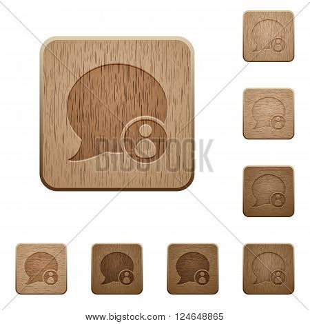 Set of carved wooden Blog comment owner buttons in 8 variations.