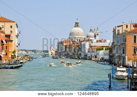 VENICE-JUNE 15:The Grand Canal on June 15 2012 in Venice. The Grand Canal is the largest canal in Venice Italy.