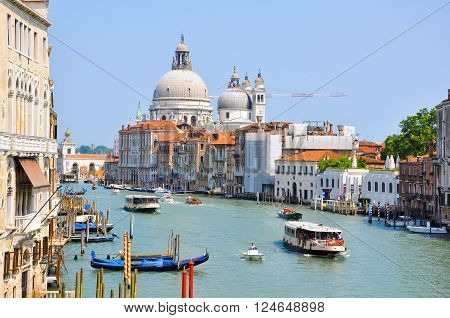 VENICE-JUNE 15:The Grand Canal in Venice on June 15 2012 in Venice. The Grand Canal is the largest canal in Venice Italy.