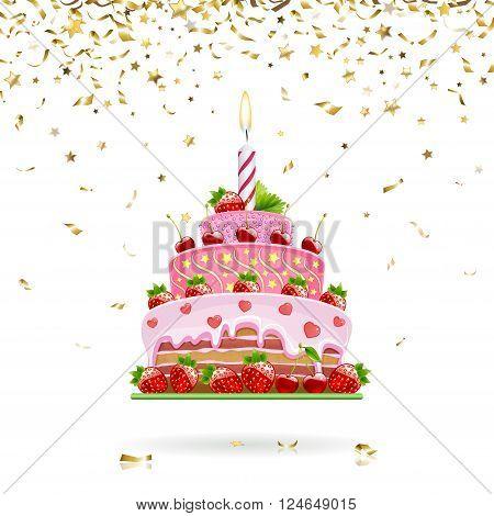 celebratory strawberry cake with gold confetti on a white background