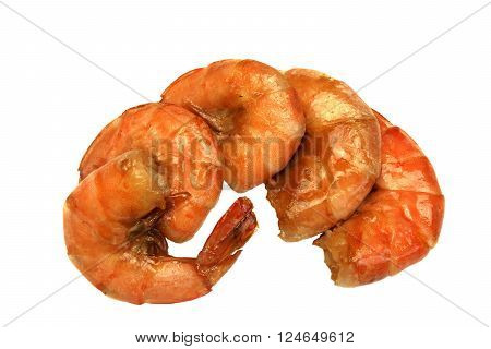 Four Big King Size Grilled Shrimps On White Isolated Background