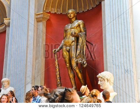 VATICAN-JULY 20: The bronze sculpture of Hercules in Sala Rotonda on July 202010 in the Vatican Museum Rome Italy.