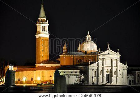 VENICE-ITALY 22: Church of San Giorgio Maggiore at night on July 222013 in Venice Italy.