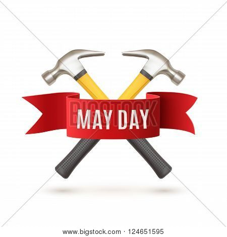 May Day. May 1st. Labor Day background with two hummers and red ribbon. Poster, greeting card or brochure template isolated on white. Vector illustration.