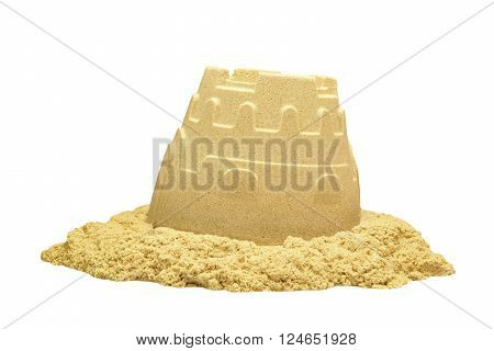 Sand Castle Tower Isolated On White Background