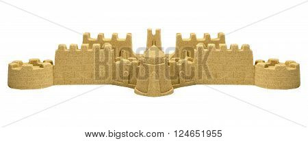 Big Sand Castle Isolated On White Background