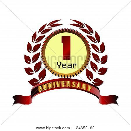 Laurel wreath 1 years anniversary vector design template