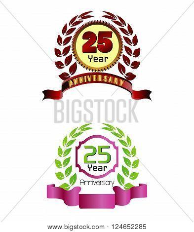 Laurel wreath 25 years set vector design template