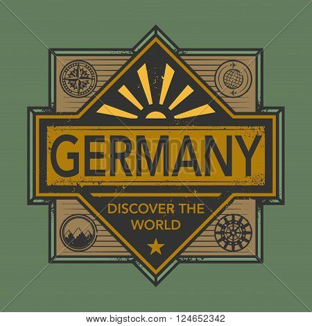 Stamp or vintage emblem with text Germany Discover the World, vector illustration