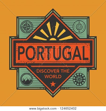 Stamp or vintage emblem with text Portugal Discover the World, vector illustration