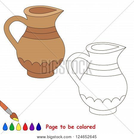 Jug to be colored. Coloring book for children. Visual game.