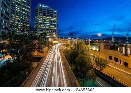 Sydney Australia - November 10 2015: Long exposure car light trace at Western Distributor Fwy. View from Pyrmont Bridge towards south.