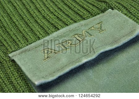 Military Uniform Sweater With Sign Army On The Pocket
