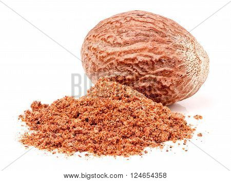 One nutmeg whole and powder isolated on white background.