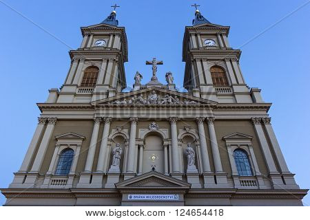 OSTRAVA, MORAVIAN-SILESIAN, CZECH REPUBLIC - APRIL 2, 2016: Cathedral of the Divine Saviour in Ostrava.