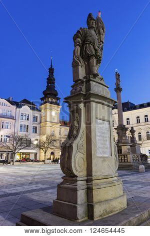 Masaryk Square - central square featuring the historic old city hall building and a Marian plague column