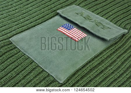 Green Khaki Military Uniform Male Sweater With Embroidered Sign Army On The Chest Pocket Top View Close Up