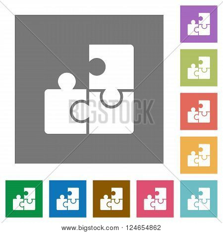 Puzzle flat icon set on color square background.