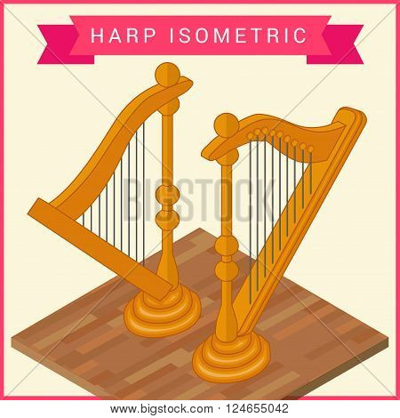 Harp flat isometric vector icon. Classical music instrument isometric view. Harp vector pictogram.