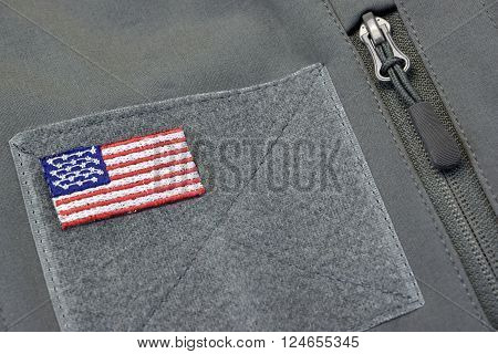 Coat With American Flag Patch And Silver Zipper