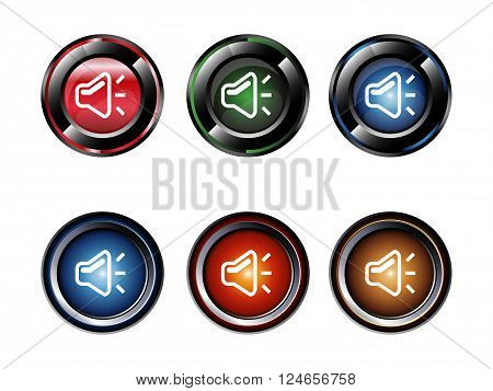 Mute glossy volume buttons vector design template