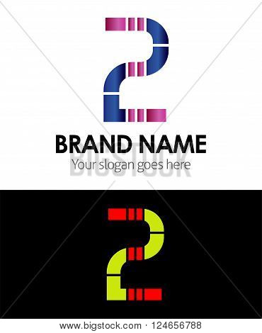 Number 2 logo company vector design template