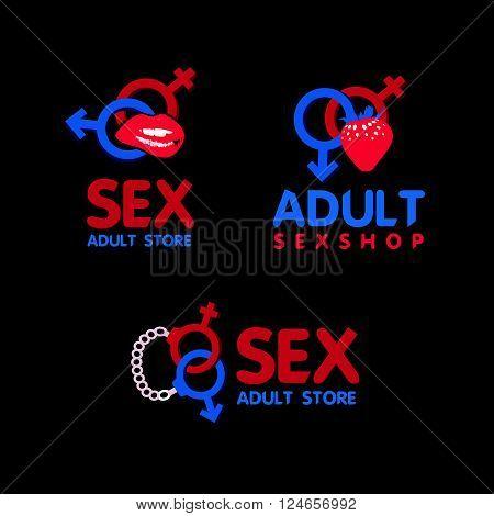 Sex shop logo and badge design. Adult Store Logo