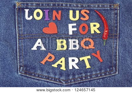 Inventation Sign For Bbq Or Grill Party On Jeans Background