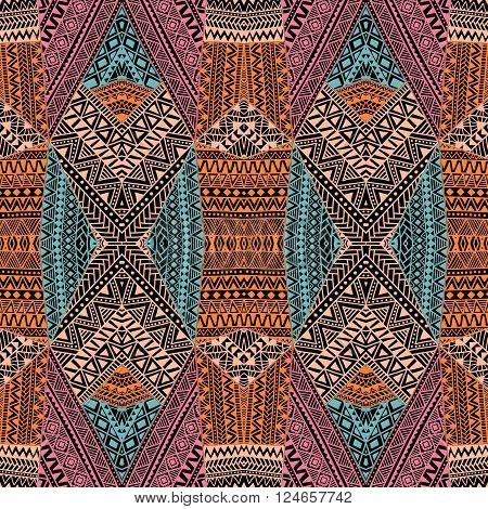 Seamless geometric pattern in the bohemian style. Abstract geometric background painted by hand. Tribal and ethnic motifs. Orange blue pink beige and black. Vector illustration. Patchwork.