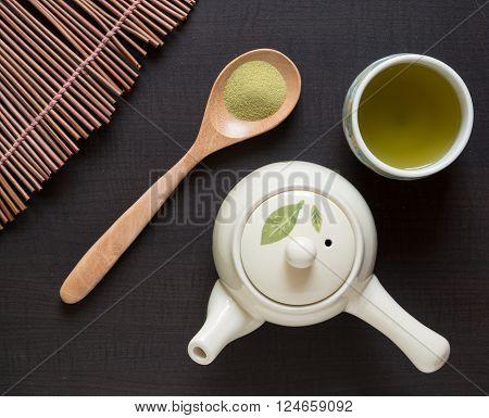 Top view of green tea matcha japan style
