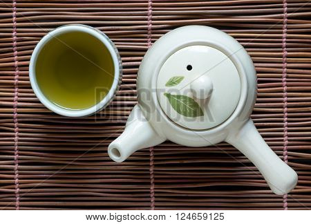 Top view of green tea matcha on bamboo wooden