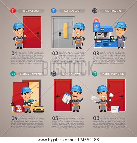 Fireproof Door Production Step by Step with Cartoon Character. In the EPS file, each element is grouped separately. Clipping paths included.