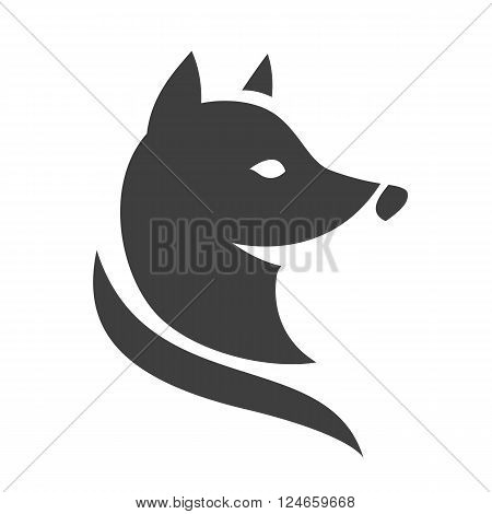 Stylized fox head. Vector silhouette isolated on white background.